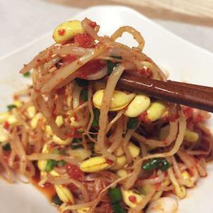 サムギョプサルのお供に豆もやしナムル(唐辛子ver)