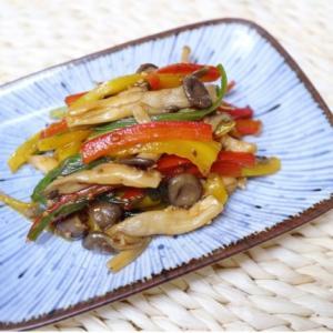 10分で完成 超簡単な副菜 パプリカとキノコのオイスター炒め