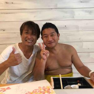 台風のおかげで偶然の旧友再会!井田にて