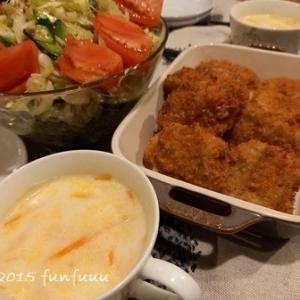 ★晩御飯献立:豚と玉ねぎのフライ+お弁当☆ミ
