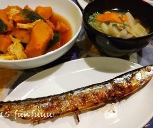 ★晩御飯献立:さんまの塩焼き+お弁当☆ミ