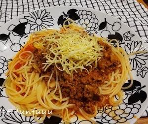 ★晩御飯献立:ミートソーススパゲティー+お弁当☆ミ