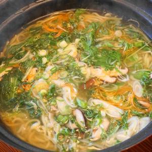 塩鍋の残りのスープで塩ラーメン