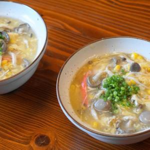 爆笑\(^o^)/18歳と81歳の違い★賄い★中華風コーンスープで丼