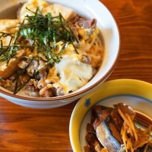 賄い★イワシの生姜煮と肉豆腐の卵とじ丼