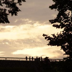 多摩湖の夕空