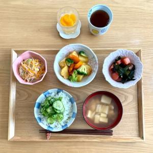 乾物、缶詰、野菜たっぷり 今日の助産院ごはん