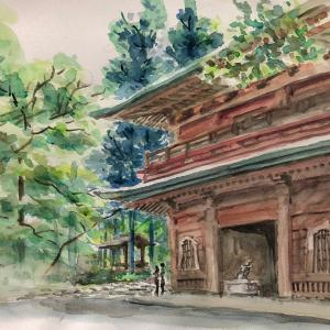 延暦寺文殊楼 (水彩画)