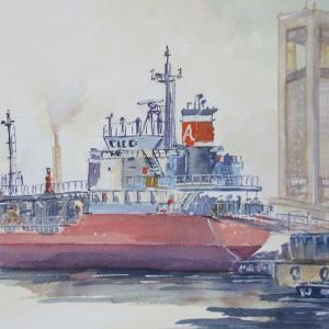 今日の水彩画~油送船~