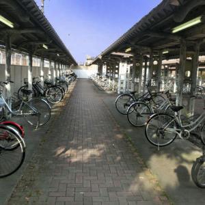 盆休暇中の駅前駐輪場