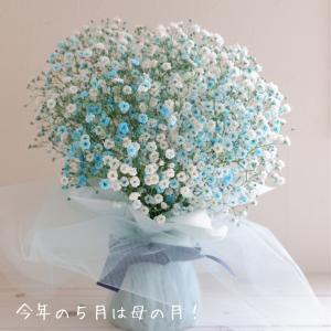 今年の5月は母の月!ブルーのラメ入りかすみ草が爽やかでした【PR】