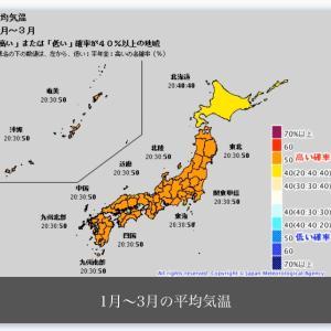3か月予報 今年の冬は暖かそうな気配です。(^^)/
