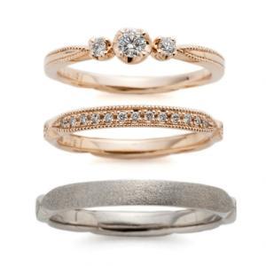 ピンクゴールド・アンティークの様な結婚指輪・着け心地の良い婚約指輪♪