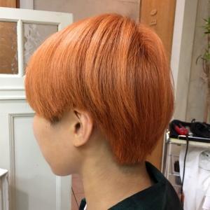 黒髪からブリーチ1回で韓国で人気のオレンジヘアの髪色に!