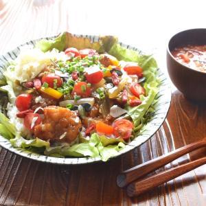 7/25 エコセコダイエットごはん。【豆腐唐揚げの甘酢あん丼。】