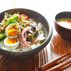 8/8 【なすと豚こまの照り焼き丼。天ぷら油はナスに吸わせる。低コストスコーン。】