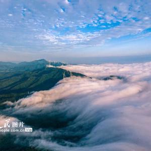 雲海の「波間」から見え隠れする風力発電機 河南省三門峡