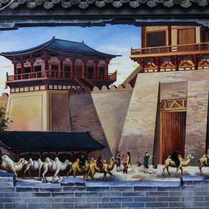 西安の古い壁が唐代風の壁画に変身 陝西省