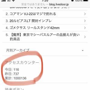 祝!ブログ100万PV達成。