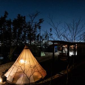夜景と北アルプスを望むキャンプ場へ【まつもと里山キャンプ場】(3月20日〜)