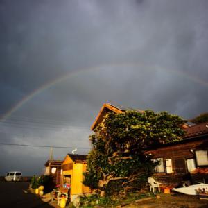 今朝も海に虹がかかりました!