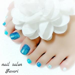 ☆(Foot)濃淡ブルー5色ネイル☆