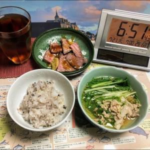 200721カツオタタキと豚肉と万願寺唐辛子炒め