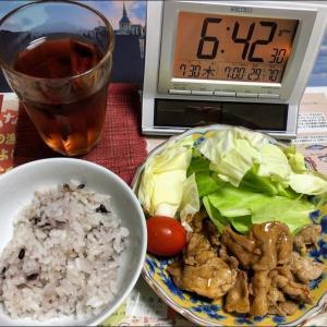 200730ミンチ肉とキャベツ炒め&ジュンサイ