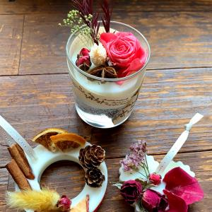 お花とアロマの香りがいっぱい! アロマワックスカップとサシェのレッスンへ♡