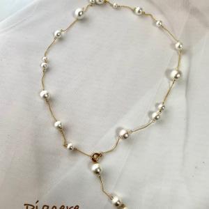 和歌山近鉄百貨店リフレッシュオープンイベント用にコットンパールのネックレスを作りました♡