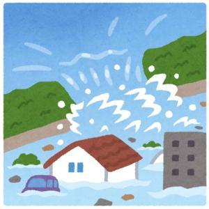 激しい雨と風の中で水害の不安