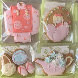 アイシングクッキーオーダー…お宮参りのお祝いセットはピンク、ピンク、ピンク!!