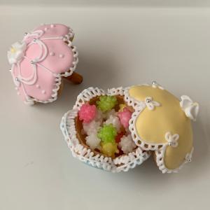 アイシングクッキーお遊び…ミニパラソルとボンボニエール