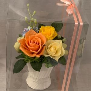 プリザーブドフラワー製作…オレンジ系のお供え花