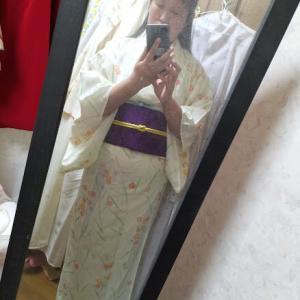 撫子の小紋に紫の帯