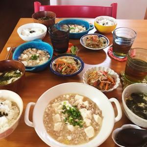 麻婆豆腐定食は お決まりの器と献立で…