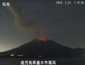真夜中の桜島