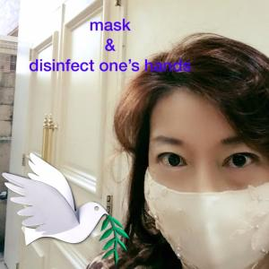 mask & disinfect one's hans