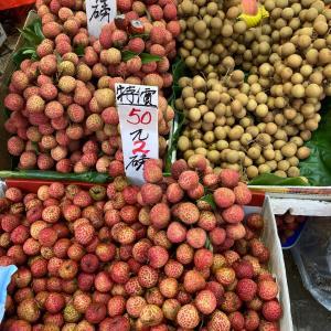 香港のローカルマーケットで新生姜