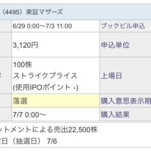 【IPO投資】2020/07:8日までの抽選結果
