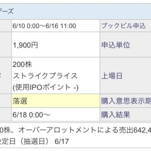 【IPO投資】2021/6:17日の抽選結果