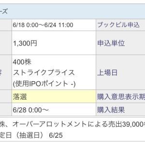 【IPO投資】2021/6:29日の抽選結果