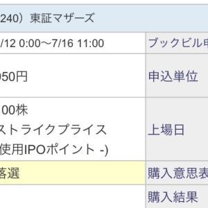 【IPO投資】2021/7:19日の抽選結果