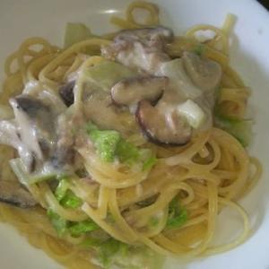 椎茸+白菜+ツナ缶