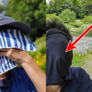 mont-bellのクールネックゲイターとマスクおじさん