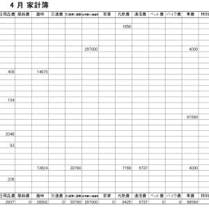 2020年4月家計簿 総計¥474880