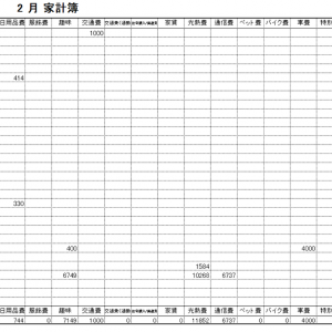 2021年2月家計簿 総計¥59646