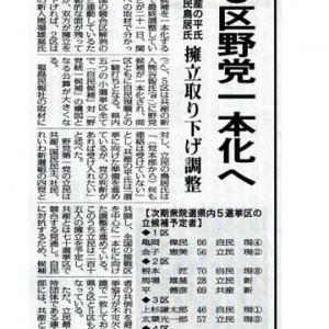 野党一本化への記事を読んで「福島5区の選挙は終わった」と思ったのだが・・