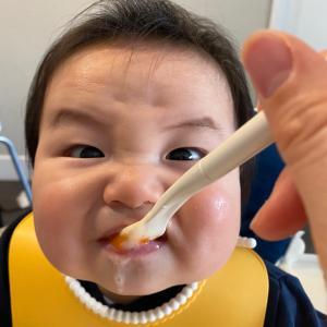 離乳食を食べる6か月の息子の反応