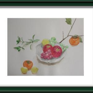 水彩で秋の果物を描く
